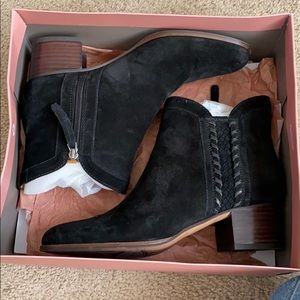 Franco Sarto black suede booties with brown heel